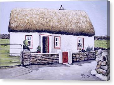 Canvas Print featuring the painting Aran Island Thatched Roof Cottage  by Melinda Saminski