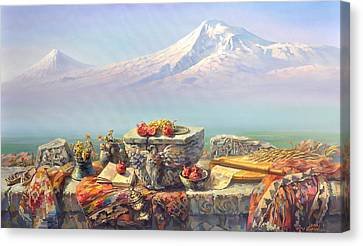 Ararat With A Lavash Canvas Print