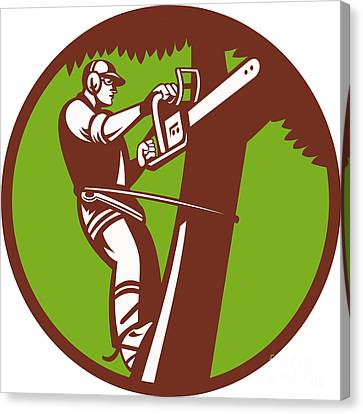 Arborist Tree Surgeon Trimmer Pruner Canvas Print by Aloysius Patrimonio