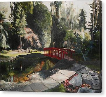 Canvas Print featuring the painting Arbour Bridge by Cherise Foster