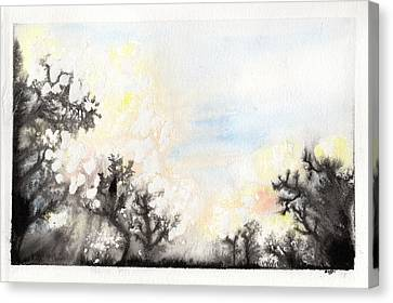 Canvas Print featuring the painting Arbres En Feu by Marc Philippe Joly