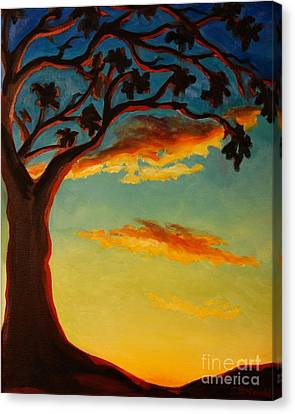 Canvas Print featuring the painting Arbutus Sunrise by Janet McDonald