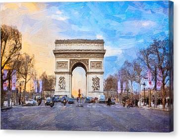 Arc De Triomphe - A Paris Landmark Canvas Print by Mark E Tisdale