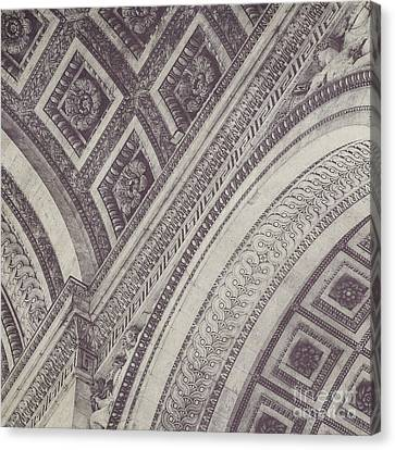 Arc De Triomphe Detail In Black And White Canvas Print