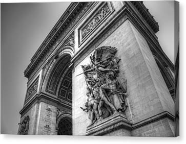 Canvas Print featuring the photograph Arc De Triomphe In Black And White by Jennifer Ancker