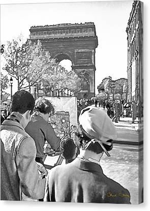 Arc De Triomphe Painter - B W Canvas Print by Chuck Staley