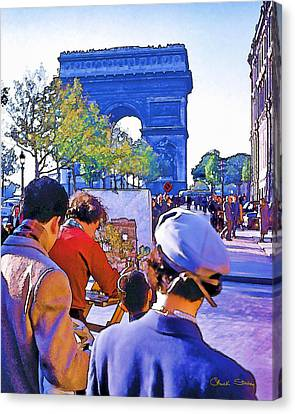 Arc De Triomphe Painter Canvas Print by Chuck Staley