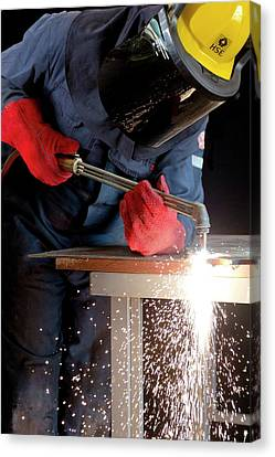 Arc Welder At Work Canvas Print by Crown Copyright/health & Safety Laboratory Science Photo Library