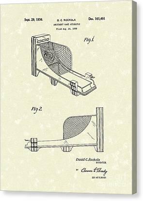 Arcade Game 1936 Patent Art Canvas Print by Prior Art Design