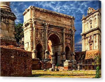 Arch Of Septimius Severus Canvas Print by Anthony Dezenzio
