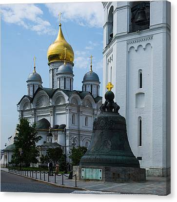 Archangel Cathedral And Czar Bell - Square Canvas Print