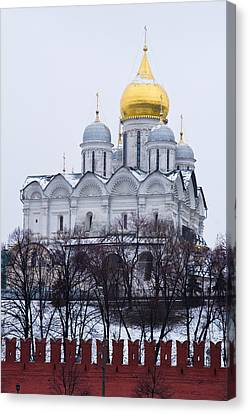 Archangel Cathedral Of Moscow Kremlin - Featured 3 Canvas Print by Alexander Senin