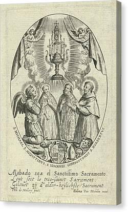 Archangel Michael And Saints Under A Monstrance Canvas Print by Quint Lox