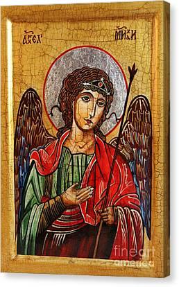 Archangel Michael Icon Canvas Print by Ryszard Sleczka