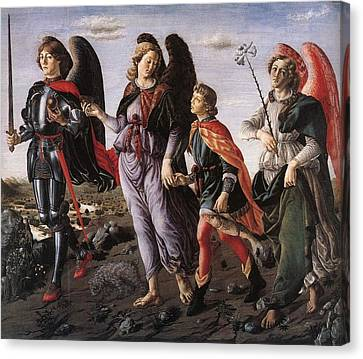 Archangels With Tobias Canvas Print by Renaissance Master