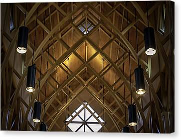 Arched Trusses - University Of Florida Chapel On Lake Alice Canvas Print