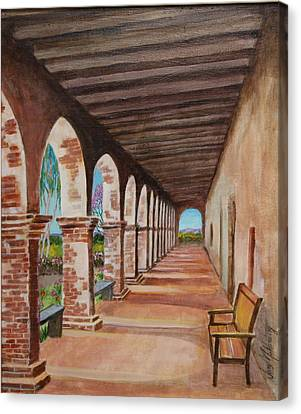 Arched Walkway At Noon  Canvas Print by Jan Mecklenburg
