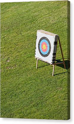 Archery Round Target On A Stand Canvas Print by Artur Bogacki