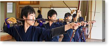 Archery Students Practicing At Japanese Canvas Print by Panoramic Images