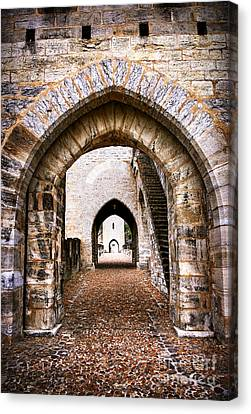 Arches Of Valentre Bridge In Cahors France Canvas Print by Elena Elisseeva