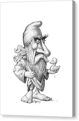 Archimedes, Caricature Canvas Print