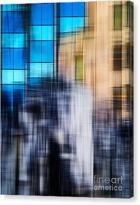 Abstract Movement Canvas Print - Architectural Abstract In Bright Blue by Emilio Lovisa