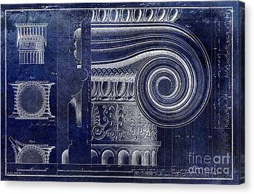Capital Canvas Print - Architectural Capital Blue by Jon Neidert