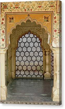 Architectural Details, Amber Fort Canvas Print by Adam Jones