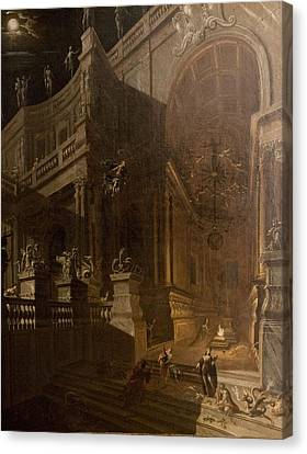 Moonlit Canvas Print - Architectural Fantasy With Figures by Stefano Orlandi