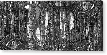 Architectural Utopia 4 Fragment Canvas Print by Serge Yudin