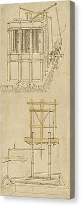 Architecture With Indoor Fountain From Atlantic Codex  Canvas Print by Leonardo Da Vinci