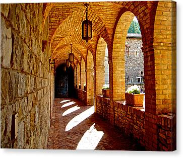 Archway By Courtyard In Castello Di Amorosa In Napa Valley-ca Canvas Print by Ruth Hager