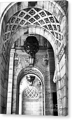 Archways At The Library Bw Canvas Print by John Rizzuto
