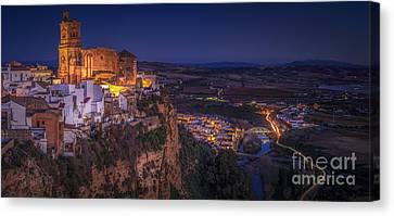 Arcos De La Frontera Panorama From Balcon De La Pena Cadiz Spain Canvas Print