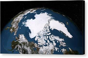 Arctic Ice Minimum Extent Canvas Print by Nasa/goddard Scientific Visualization Studio