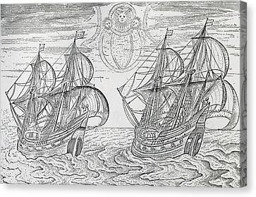 Arctic Phenomena From Gerrit De Veer S Description Of His Voyages Amsterdam 1600 Canvas Print by Netherlandish School