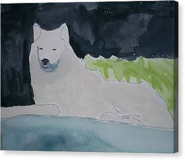 Growling Canvas Print - Arctic Wolf Watercolor On Paper by William Sahir House