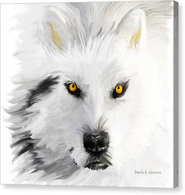 Arctic Wolf With Yellow Eyes Canvas Print by Angela A Stanton