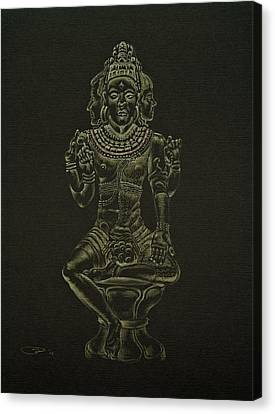 Canvas Print featuring the drawing Ardhanarishvara I by Michele Myers
