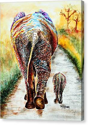 Canvas Print featuring the painting Are We There Yet? by Maria Barry