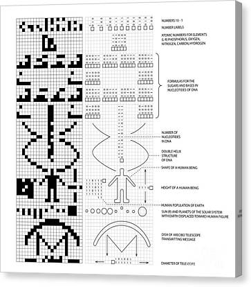 Arecibo Message And Decoded Key Canvas Print