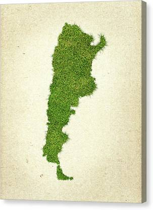 Argentina Grass Map Canvas Print by Aged Pixel
