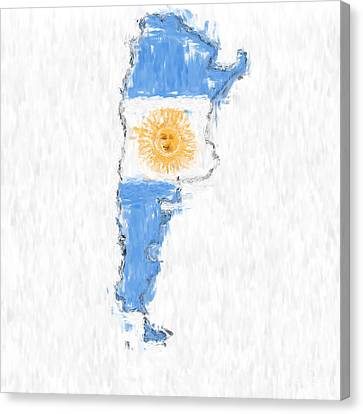 Argentina Painted Flag Map Canvas Print by Antony McAulay