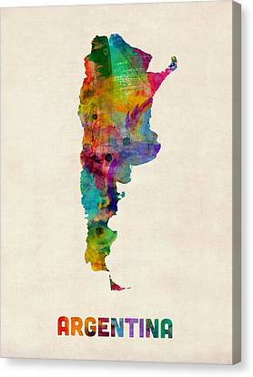 Argentina Watercolor Map Canvas Print by Michael Tompsett