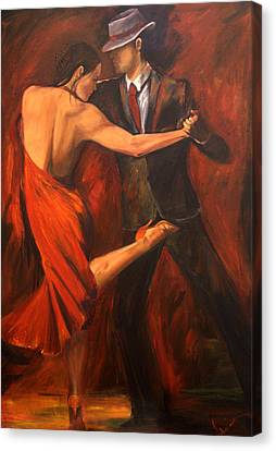 Red Dress Canvas Print - Argentine Tango by Sheri  Chakamian