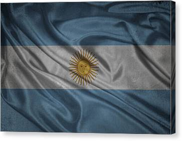 Argentinian Flag Waving On Canvas Canvas Print