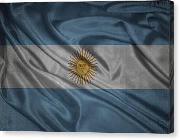 Argentinian Flag Waving On Canvas Canvas Print by Eti Reid