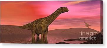 Argentinosaurus Dinosaurs Amongst Canvas Print by Elena Duvernay