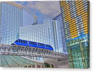 Aria Las Vegas Nevada Hotel And Casino Tram  Canvas Print by David Zanzinger