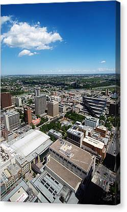 Arial View Of Calgary Facing North East Canvas Print by Lisa Knechtel